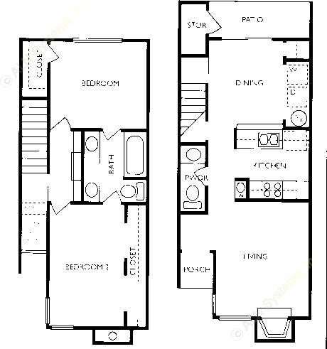 919 sq. ft. CB2-TH floor plan