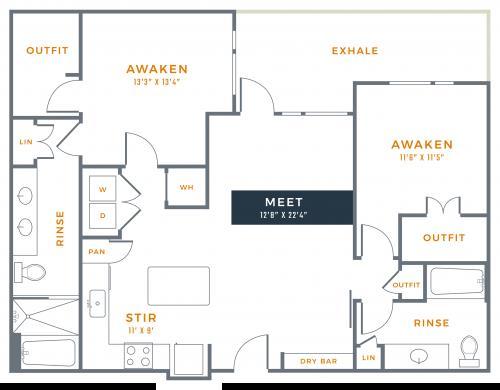 1,192 sq. ft. B2 floor plan