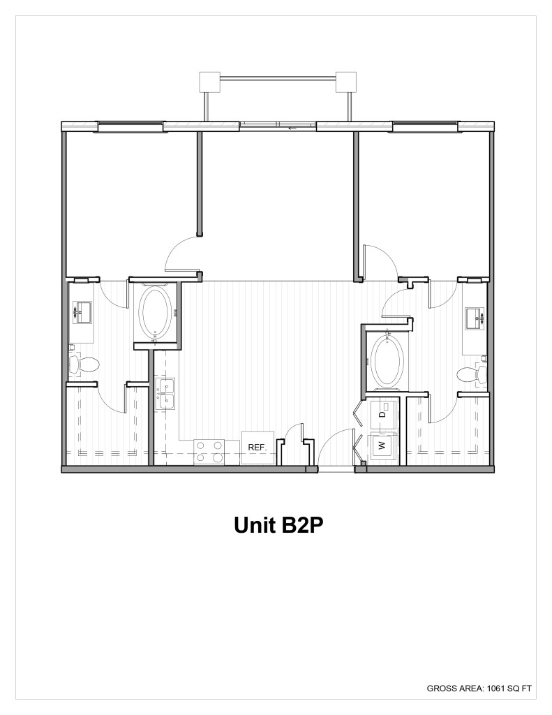 1,010 sq. ft. to 1,050 sq. ft. B1 floor plan