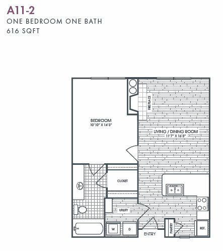 616 sq. ft. A11-2 floor plan