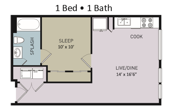 577 sq. ft. A1 floor plan