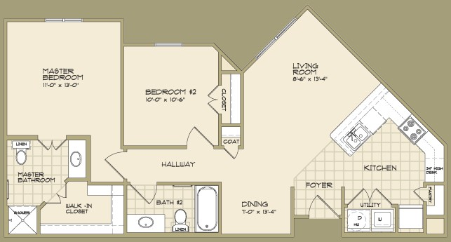 925 sq. ft. DEWBERRY/60% floor plan