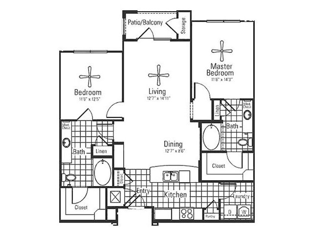 1,166 sq. ft. floor plan