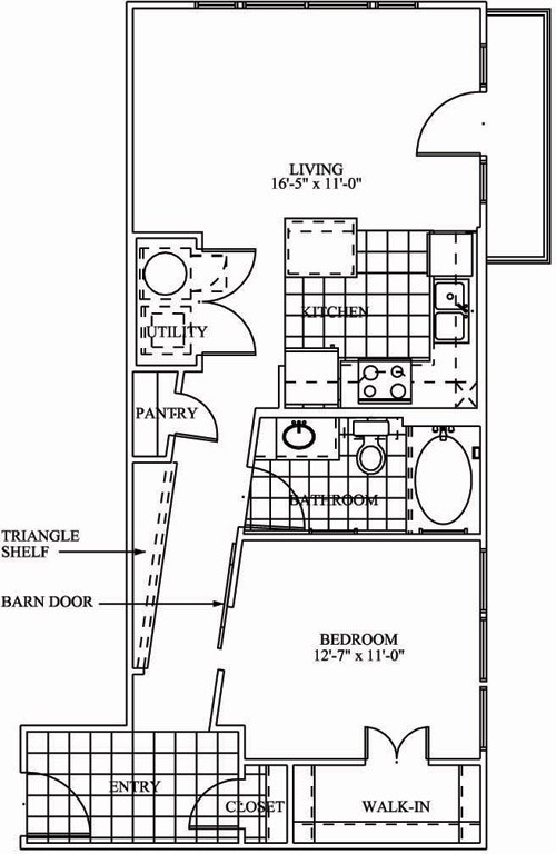 709 sq. ft. L1A floor plan