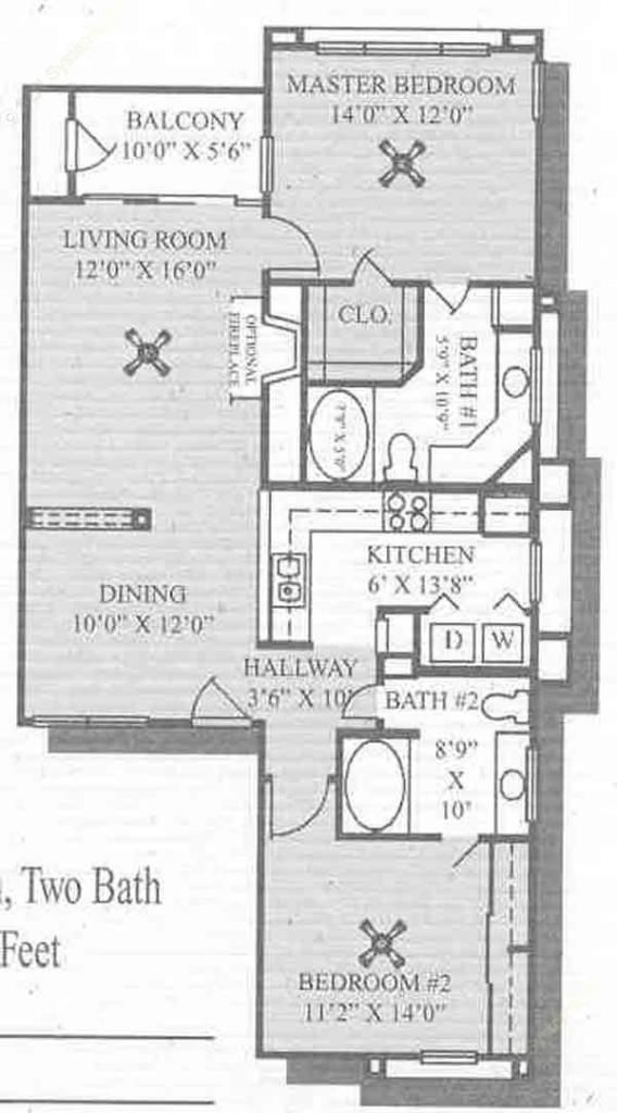 1,129 sq. ft. Pebble Beach floor plan