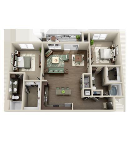 1,328 sq. ft. Trinity w/G floor plan