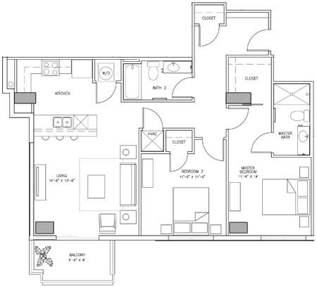 1,152 sq. ft. S floor plan