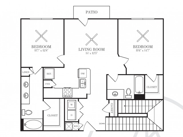 1,117 sq. ft. B3 floor plan