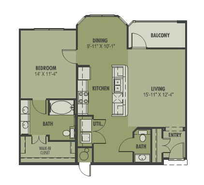 909 sq. ft. to 980 sq. ft. Dulce floor plan