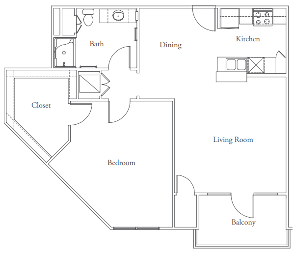 891 sq. ft. Enfield floor plan