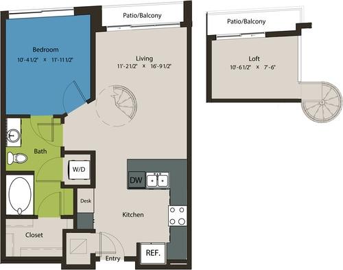 785 sq. ft. A8E-L1 floor plan