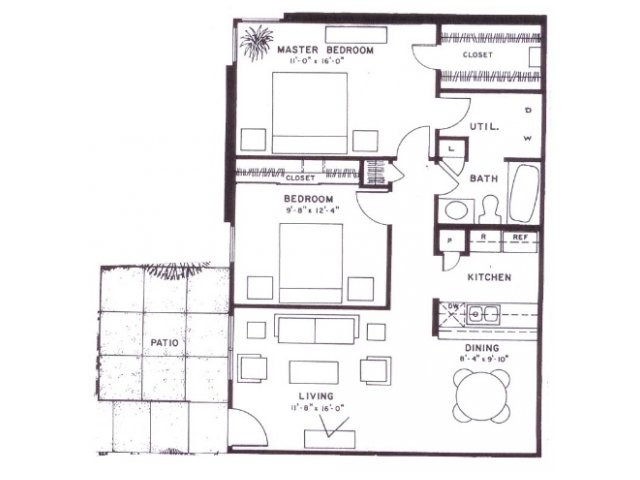 914 sq. ft. C9 floor plan