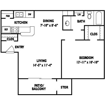 653 sq. ft. MANDALAY floor plan