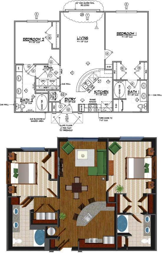 1,076 sq. ft. H floor plan