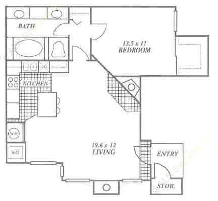725 sq. ft. 1B floor plan