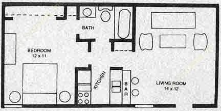 525 sq. ft. A2 floor plan