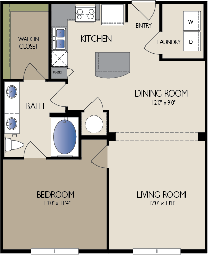 823 sq. ft. Madrid floor plan