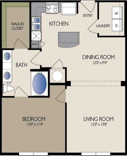 823 sq. ft. Madrid floor plan