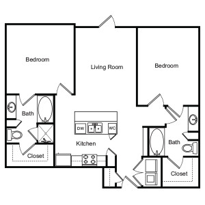 1,016 sq. ft. Freesia floor plan