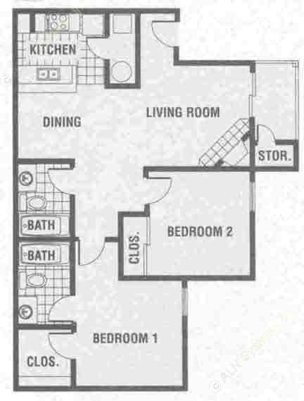 987 sq. ft. B2 floor plan
