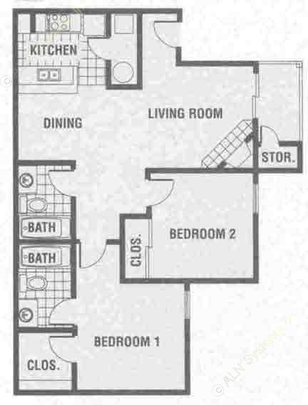 987 sq. ft. B2 floor plan