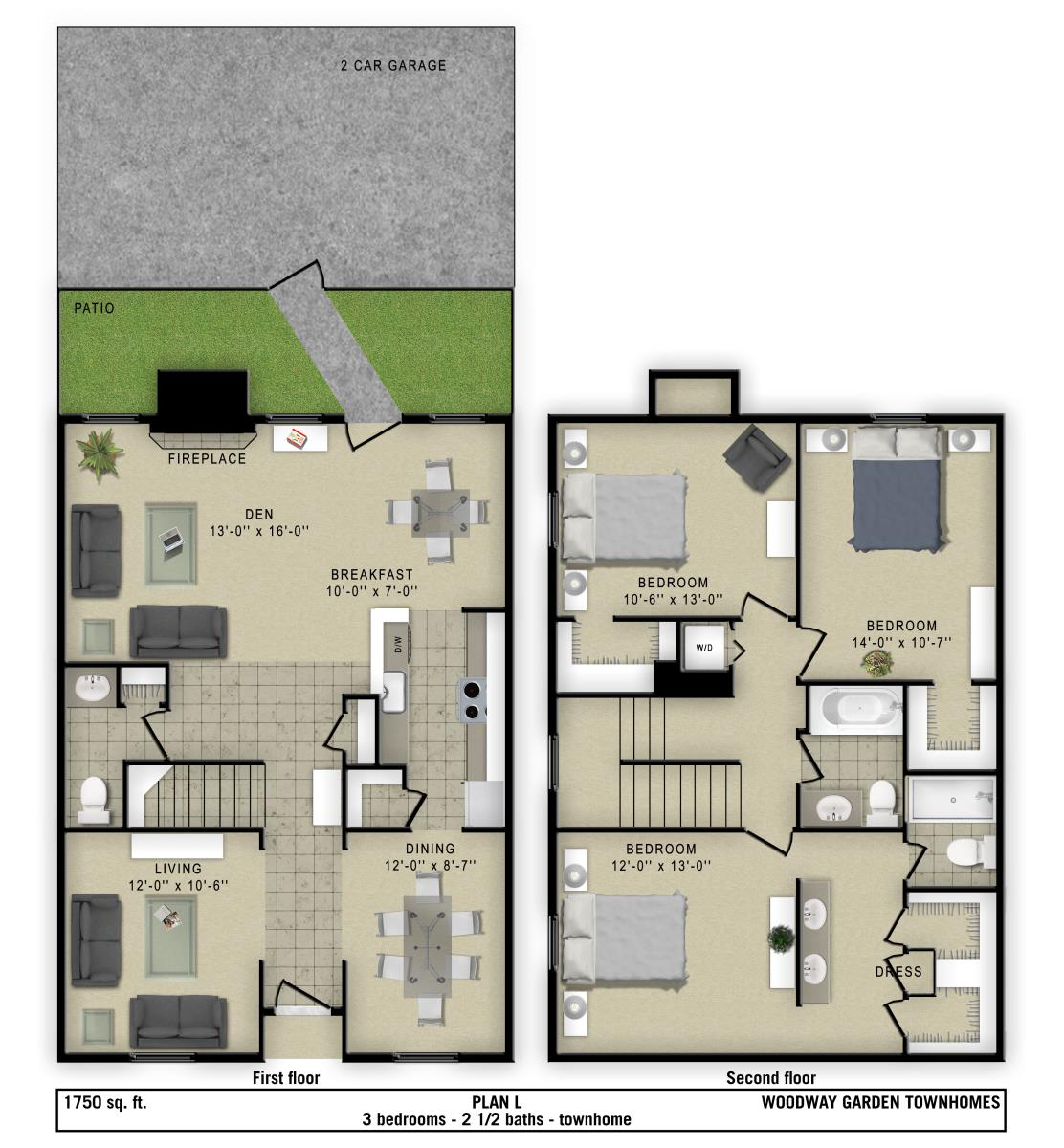 1,750 sq. ft. L floor plan