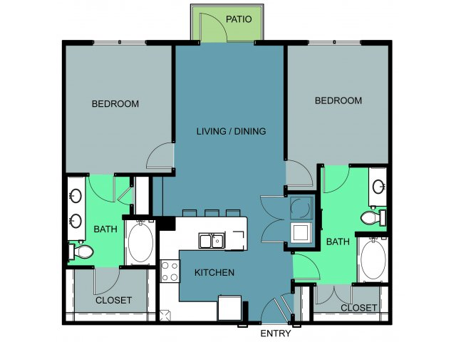 1,116 sq. ft. Westside floor plan