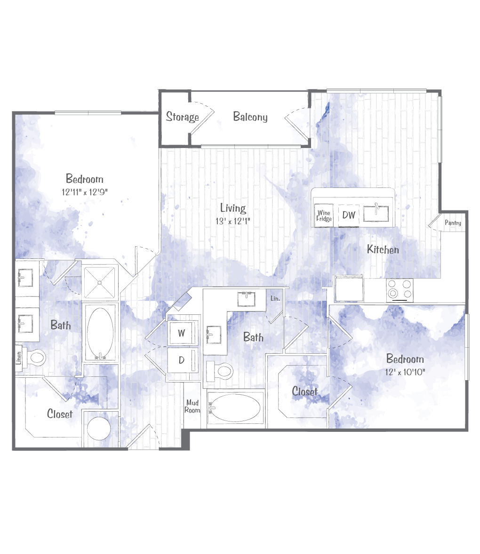 1,133 sq. ft. B1 floor plan