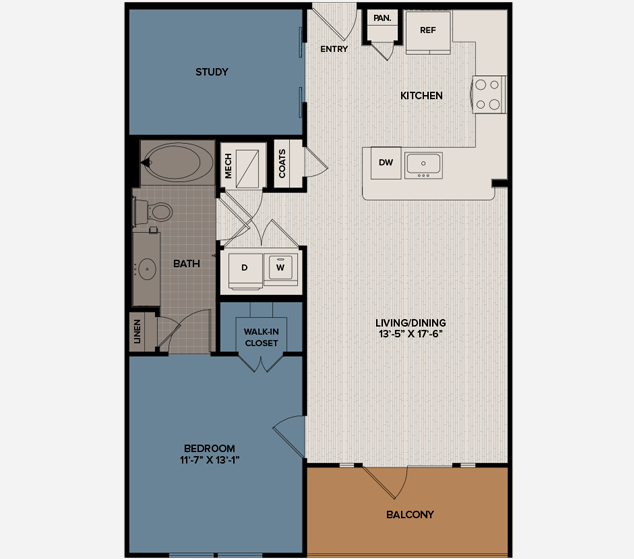 879 sq. ft. A6 floor plan