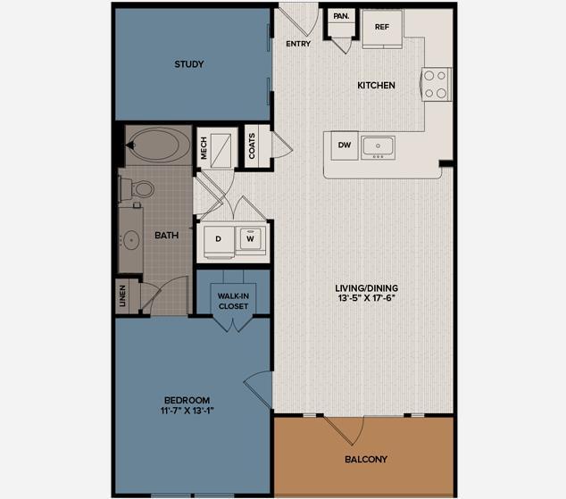 879 sq. ft. A6 floor plan
