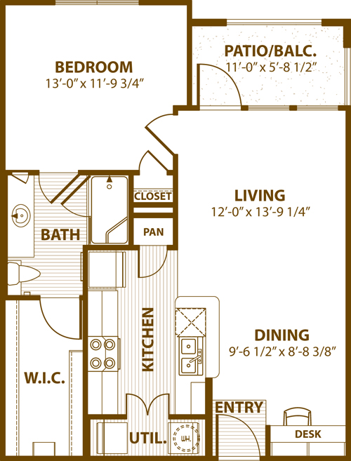 729 sq. ft. A1 50 floor plan