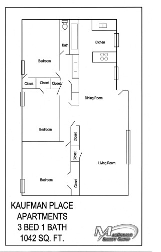 1,042 sq. ft. C1 floor plan