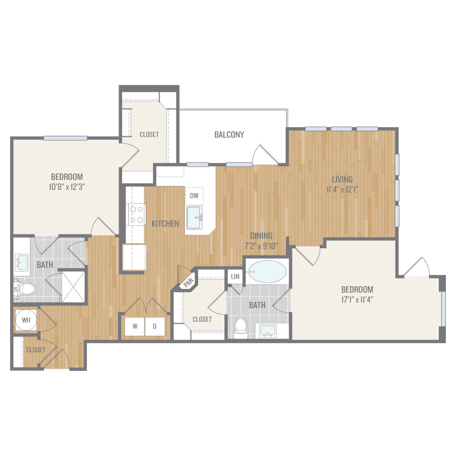 1,175 sq. ft. B4 floor plan
