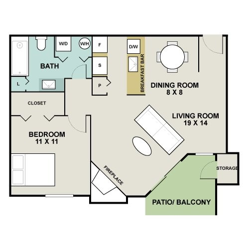 700 sq. ft. A2 - Stone River floor plan