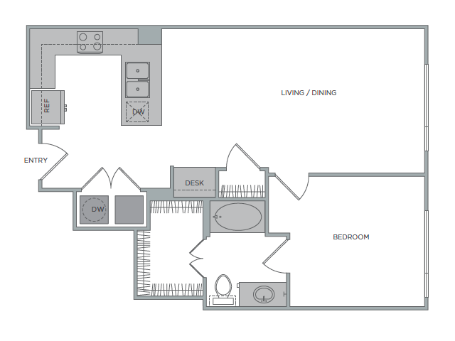 829 sq. ft. 1J floor plan