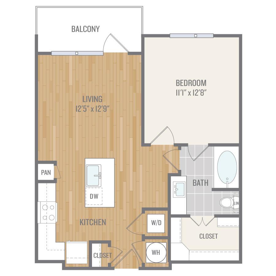 675 sq. ft. A3 floor plan