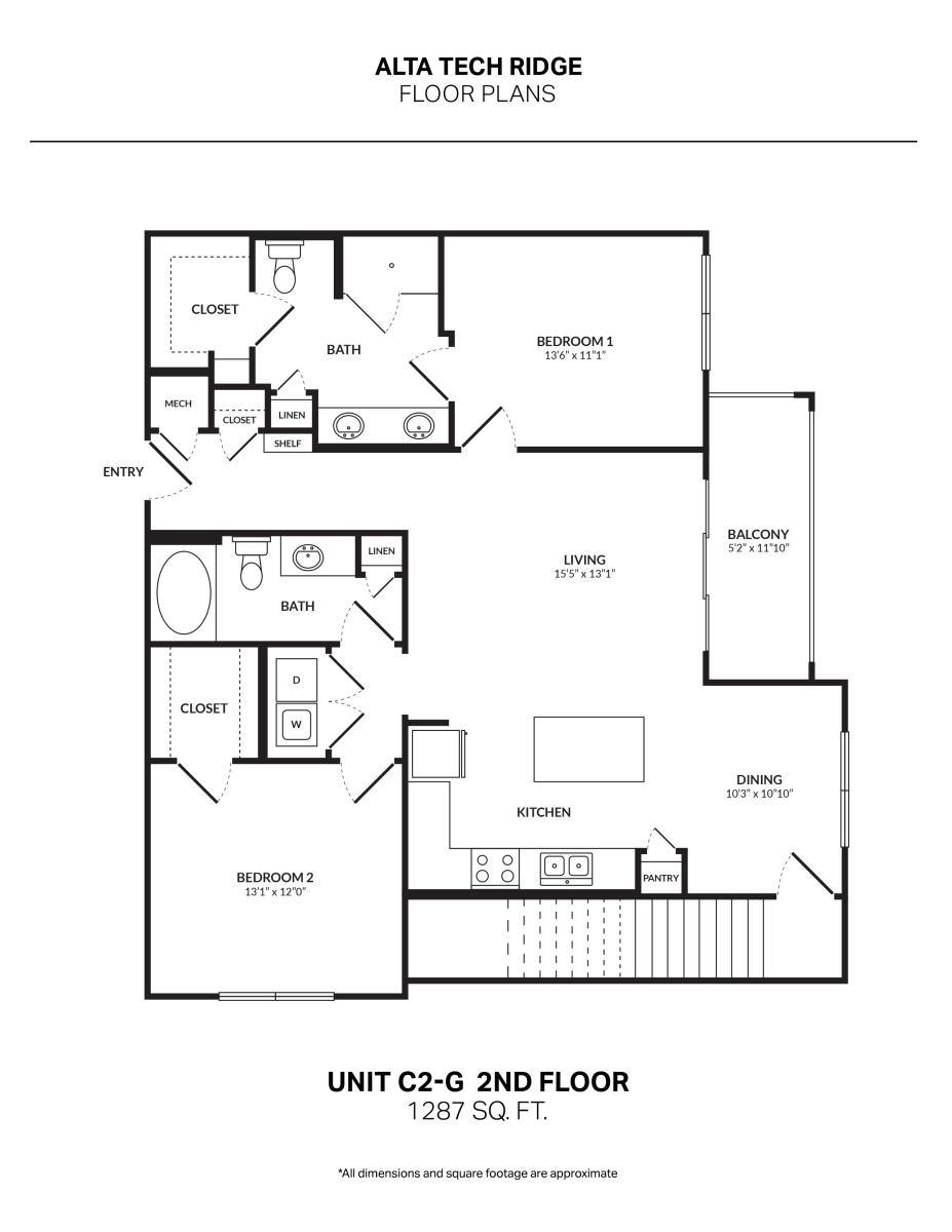 1,287 sq. ft. C2G2 floor plan