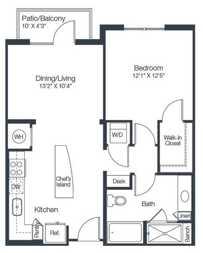 755 sq. ft. A2A floor plan