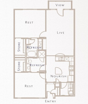 1,133 sq. ft. to 1,363 sq. ft. B6 floor plan