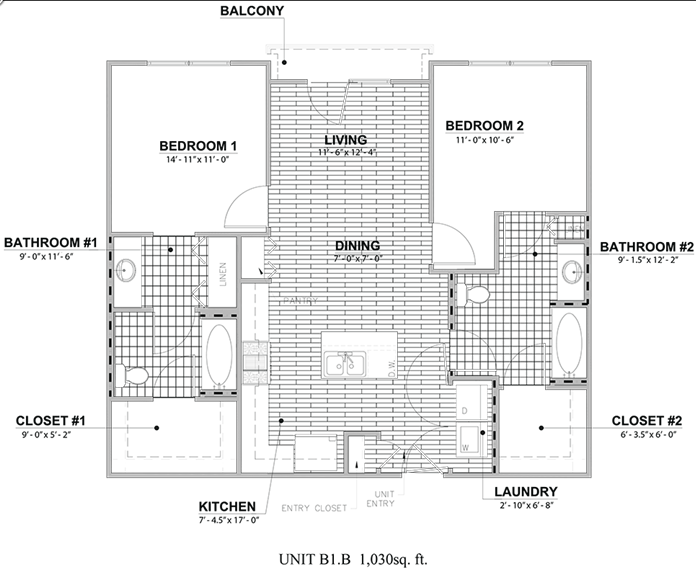 1,030 sq. ft. B1B floor plan