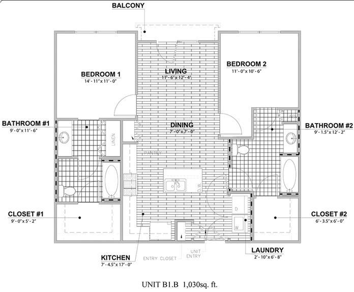 1,030 sq. ft. B1B floor plan