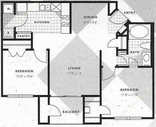 823 sq. ft. B1-B1G floor plan