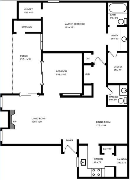 1,052 sq. ft. Maple floor plan
