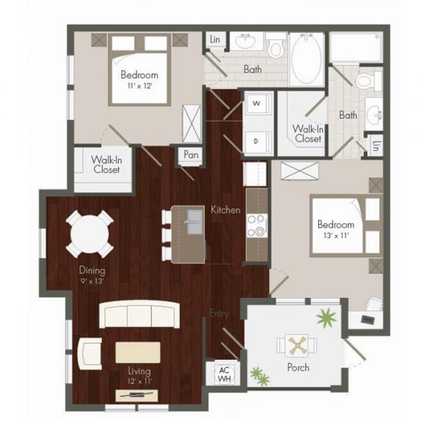 1,053 sq. ft. Highland floor plan