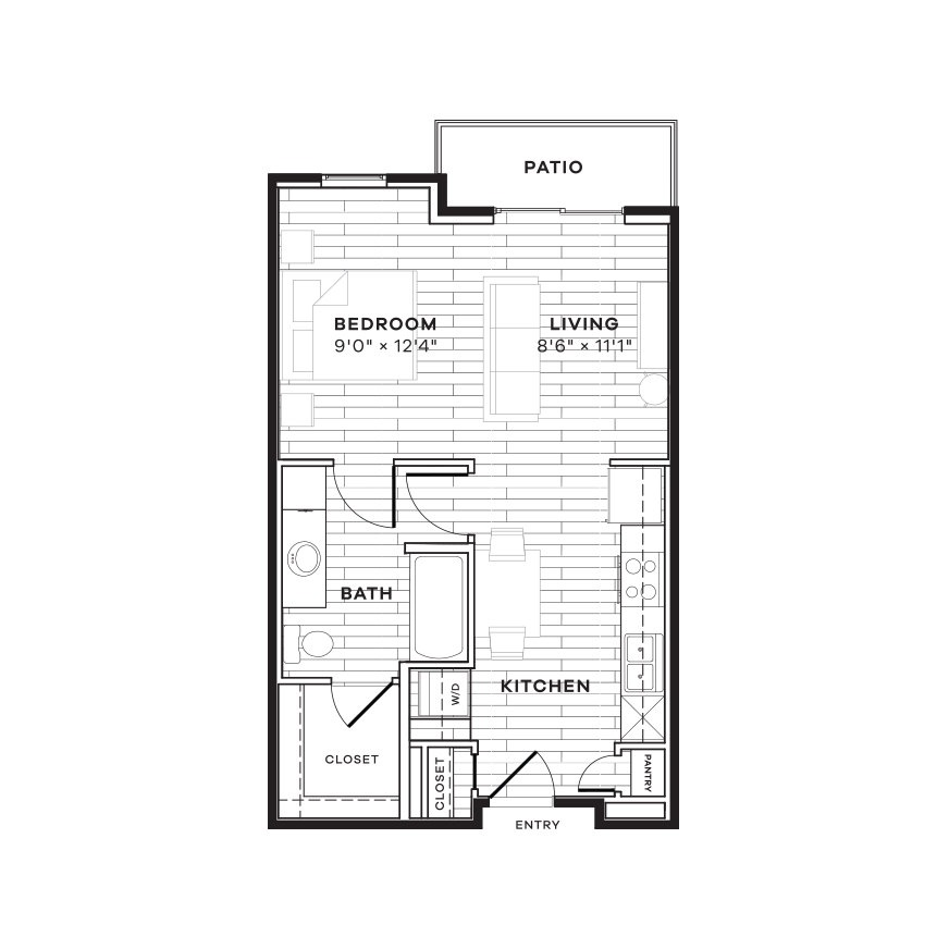 539 sq. ft. E3 floor plan