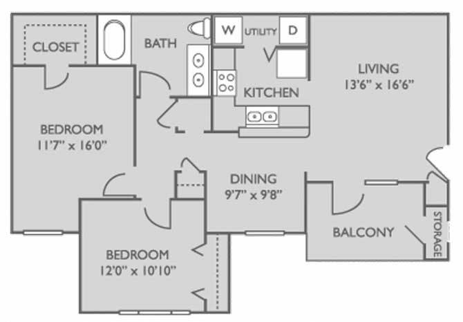 996 sq. ft. Willow floor plan