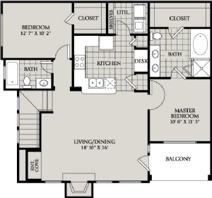 1,105 sq. ft. C1 floor plan