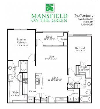 1,150 sq. ft. Turnberry floor plan