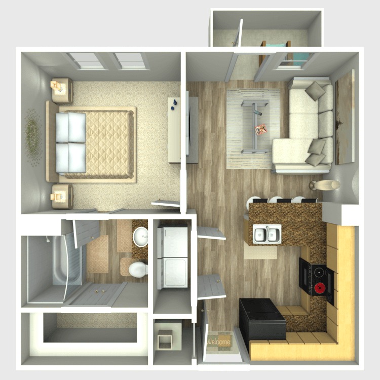 528 sq. ft. A1 floor plan