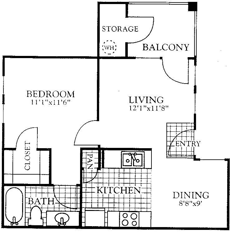 596 sq. ft. A1 floor plan